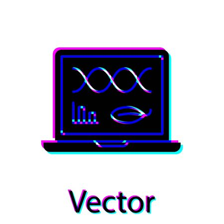 Black Genetic engineering modification on laptop icon isolated on white background. DNA analysis, genetics testing, cloning. Vector Illustration Illusztráció
