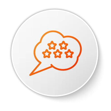 Orange line Five stars customer product rating review icon isolated on white background. Favorite, best rating, award symbol. White circle button. Vector Illustration Foto de archivo - 138194567