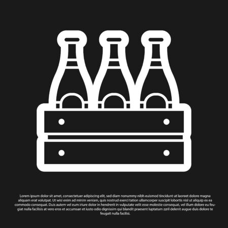 Black Pack of beer bottles icon isolated on black background. Wooden box and beer bottles. Case crate beer box sign. Vector Illustration Foto de archivo - 138199714