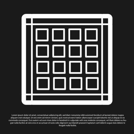 Black Checkered napkin icon isolated on black background. Vector Illustration