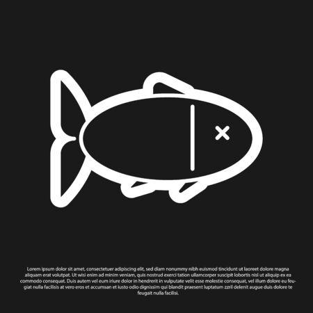 Black Fish icon isolated on black background. Vector Illustration