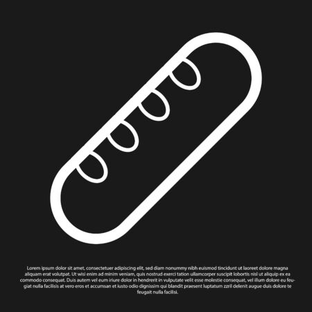 Black French baguette bread icon isolated on black background.  Vector Illustration