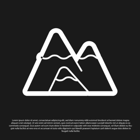 Black Mountains icon isolated on black background. Symbol of victory or success concept. Vector Illustration