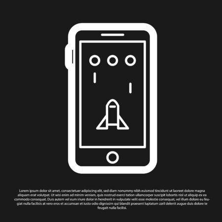 Black Smartphone and playing in game icon isolated on black background. Mobile gaming concept. Vector Illustration Archivio Fotografico - 138199800