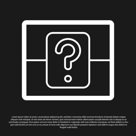 Black Mystery box or random loot box for games icon isolated on black background. Question box.  Vector Illustration