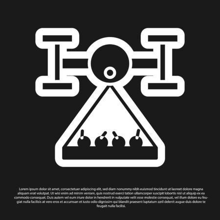 Black Smart farm with drone control collects harvest icon isolated on black background. Innovation technology for agricultural company. Vector Illustration