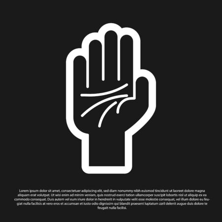 Black Palmistry of the hand icon isolated on black background. Vector Illustration 일러스트