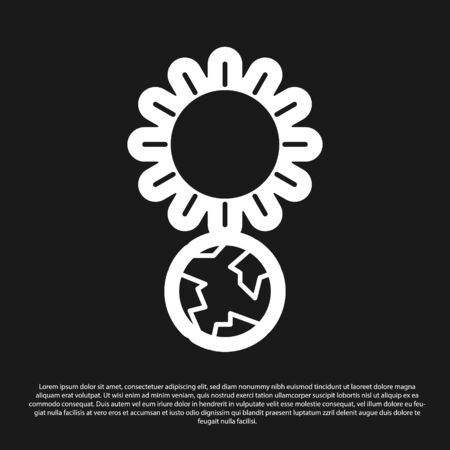 Black Solstice icon isolated on black background. Vector Illustration