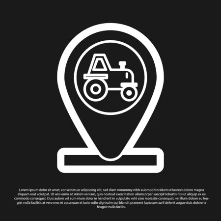 Black Tractor and location icon isolated on black background. Vector Illustration