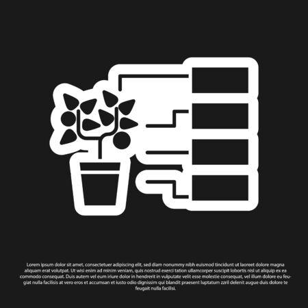 Black Flower analysis icon isolated on black background. Vector Illustration Illustration