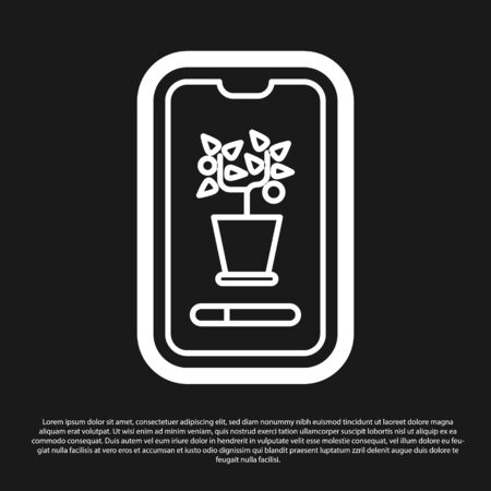 Black Smart control farming system mobile application icon isolated on black background. Vector Illustration Çizim