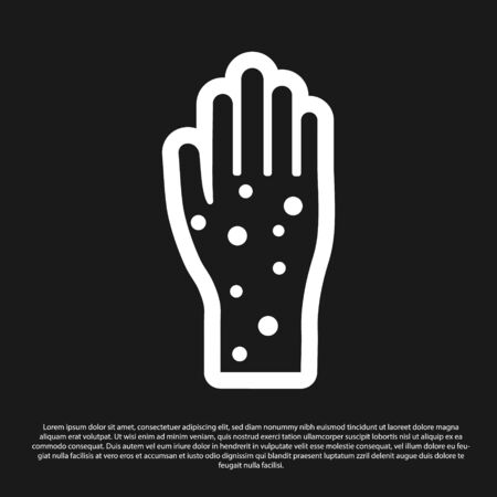 Black Hand with psoriasis or eczema icon isolated on black background. Concept of human skin response to allergen or chronic body problem. Vector Illustration Illusztráció