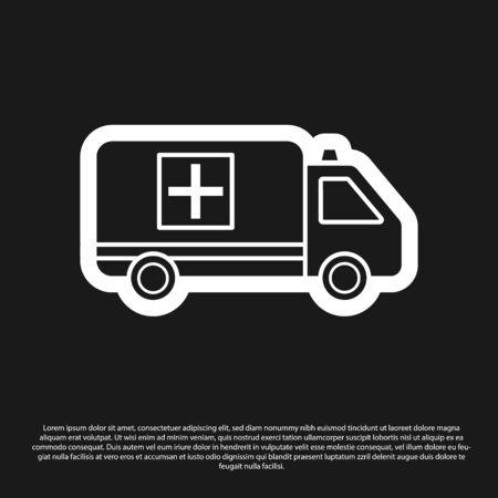 Black Ambulance and emergency car icon isolated on black background. Ambulance vehicle medical evacuation. Vector Illustration Çizim