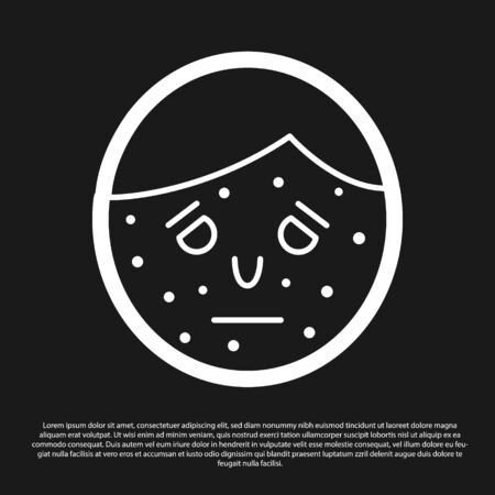 Black Face with psoriasis or eczema icon isolated on black background. Concept of human skin response to allergen or chronic body problem. Vector Illustration Illustration
