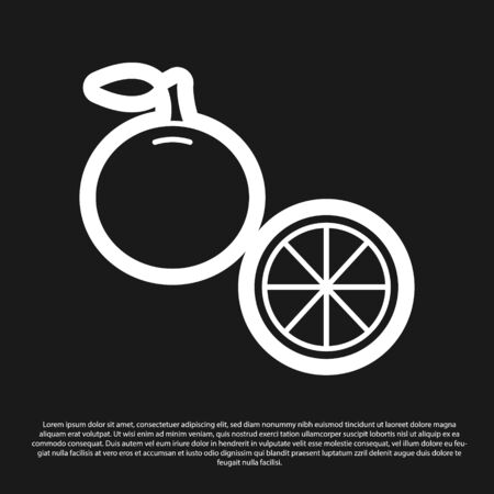 Black Orange fruit icon isolated on black background. Vector Illustration Çizim