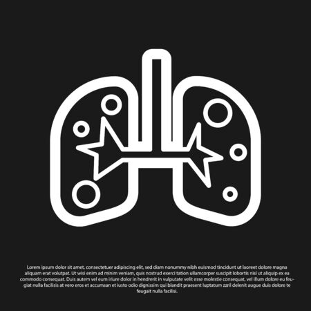 Black Lungs icon isolated on black background. Vector Illustration Banco de Imagens - 138201133