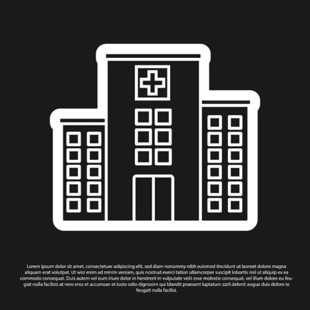 Black Medical hospital building with cross icon isolated on black background. Medical center. Health care. Vector Illustration