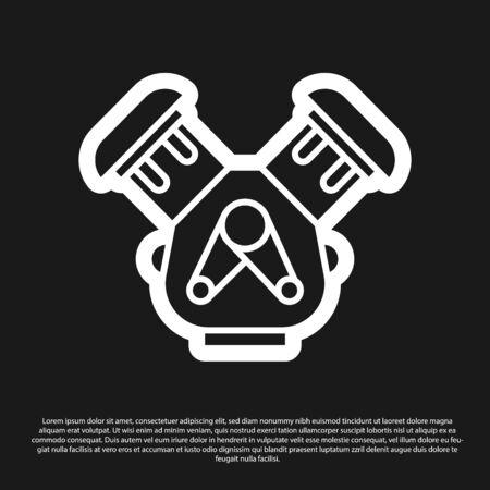 Black Car engine icon isolated on black background. Vector Illustration Illusztráció