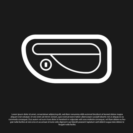 Black Car door handle icon isolated on black background. Vector Illustration