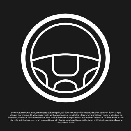 Black Steering wheel icon isolated on black background. Car wheel icon. Vector Illustration