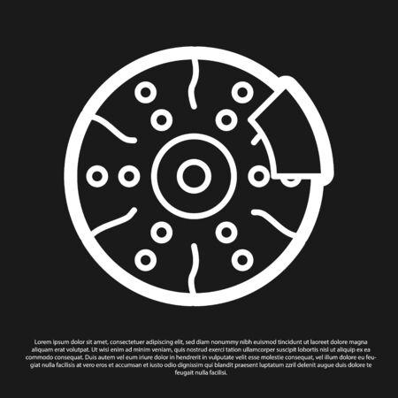 Black Car brake disk with caliper icon isolated on black background. Vector Illustration Illusztráció