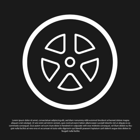 Black Car wheel icon isolated on black background. Vector Illustration