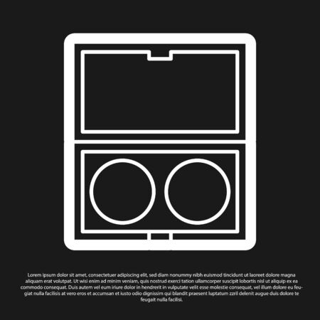 Black Makeup powder with mirror icon isolated on black background. Vector Illustration