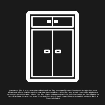 Black Wardrobe icon isolated on black background. Vector Illustration Ilustração