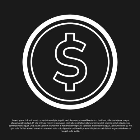 Black Coin money with dollar symbol icon isolated on black background. Banking currency sign. Cash symbol. Vector Illustration