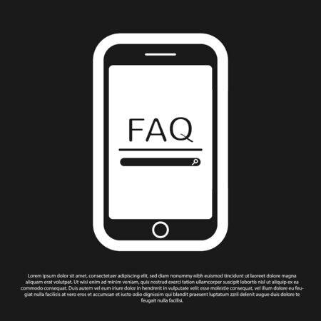 Black Mobile phone with text FAQ information icon isolated on black background. Frequently asked questions. Vector Illustration