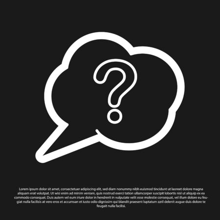 Black Speech bubble and Question icon isolated on black background. FAQ sign. Copy files, chat speech bubble and chart. Vector Illustration Reklamní fotografie - 138201974