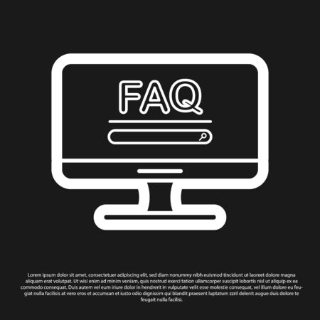 Black Computer monitor with text FAQ information icon isolated on black background. Frequently asked questions. Vector Illustration Ilustrace