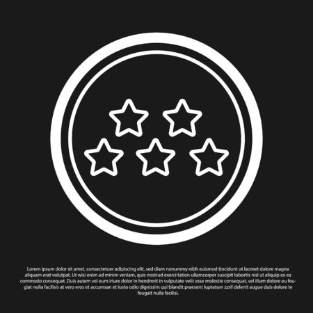 Black Five stars customer product rating review icon isolated on black background. Favorite, best rating, award symbol. Vector Illustration