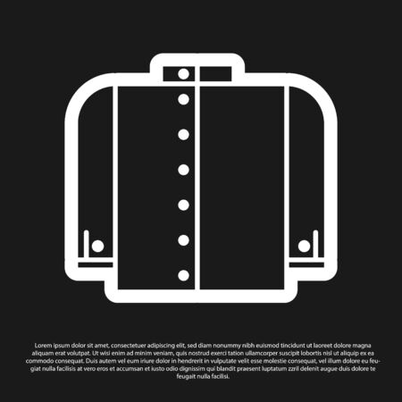 Black T-shirt icon isolated on black background. Vector Illustration