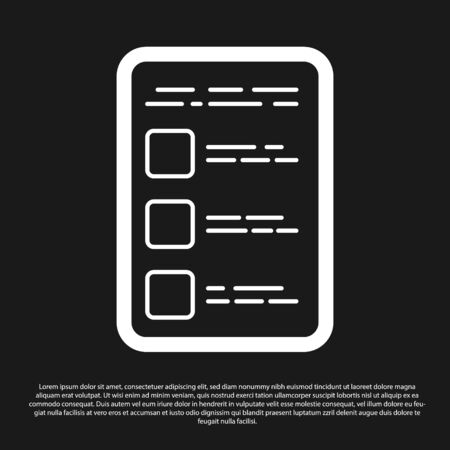 Black Create account screen on mobile phone icon isolated on black background. Vector Illustration 일러스트