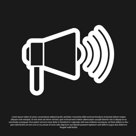 Black Megaphone icon isolated on black background. Loud speach alert concept. Bullhorn for Mouthpiece scream promotion. Vector Illustration