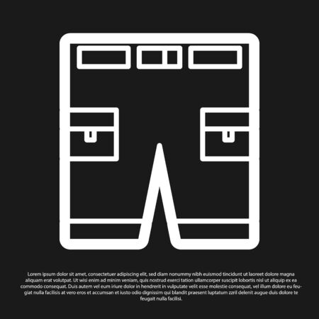 Black Short or pants icon isolated on black background. Vector Illustration Ilustracja