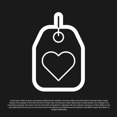 Black Heart tag icon isolated on black background. Love symbol. Valentine day symbol. Vector Illustration