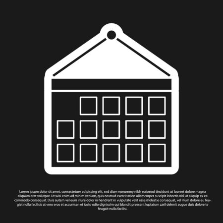 Black Calendar icon isolated on black background. Event reminder symbol. Vector Illustration 일러스트