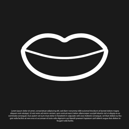 Black Smiling lips icon isolated on black background. Smile symbol. Vector Illustration