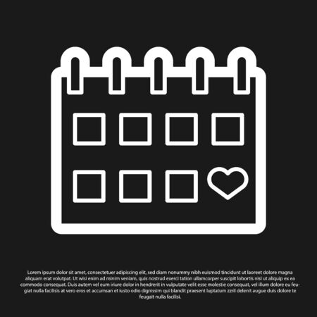 Black Calendar with heart icon isolated on black background. Valentines day. Love symbol. February 14. Vector Illustration Illustration