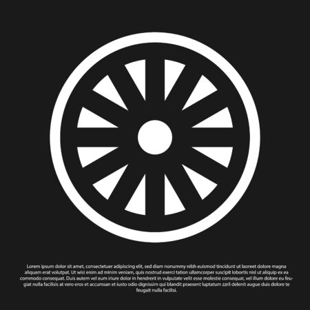 Black Old wooden wheel icon isolated on black background. Vector Illustration Stock Illustratie