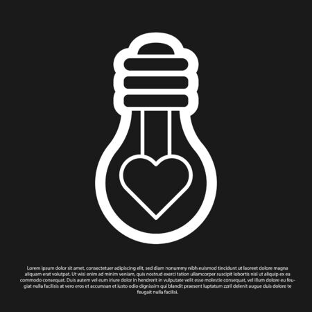 Black Heart shape in a light bulb icon isolated on black background. Love symbol. Valentine day symbol. Vector Illustration