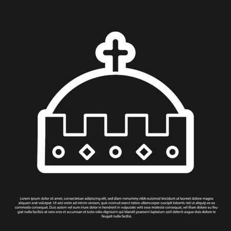 Black King crown icon isolated on black background. Vector Illustration
