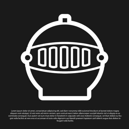 Black Medieval iron helmet for head protection icon isolated on black background. Vector Illustration