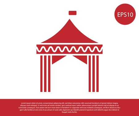 Red Camping tent icon isolated on white background. Carnival camping tent. Amusement park. Vector Illustration