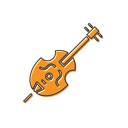 Orange Violin icon isolated on white background. Musical instrument.  Vector Illustration Ilustrace