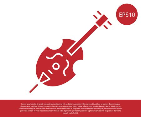 Red Violin icon isolated on white background. Musical instrument.  Vector Illustration
