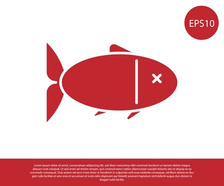 Red Fish icon isolated on white background. Vector Illustration