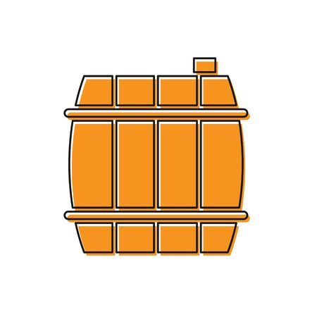 Orange Wooden barrel icon isolated on white background. Alcohol barrel, drink container, wooden keg for beer, whiskey, wine. Vector Illustration